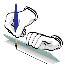 Illustration of how to hold your ruler when inking lines with a brush